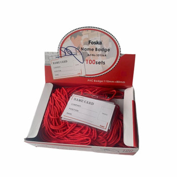 Pack of 100 Name Badge Sets with Red Lanyards