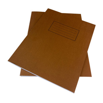 """Pack of 50 Janrax 9x7"""" Brown 80 Pages Feint and Ruled Exercise Books"""