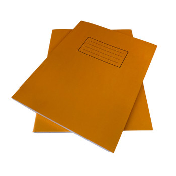 """Pack of 50 Janrax 9x7"""" Orange 80 Pages Feint and Ruled Exercise Books"""