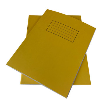 """Pack of 50 Janrax 9x7"""" Yellow 80 Pages Feint and Ruled Exercise Books"""