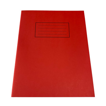 """Pack of 50 Janrax 9x7"""" Red 80 Pages Feint and Ruled Exercise Books"""