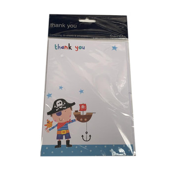 Pack of 20 Pirate Design Thank You Sheets and Envelopes by Simon Elvin