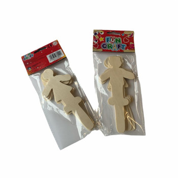 Pack of 6 Male and Female Cutout Wooden Craft Sticks