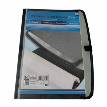 A4 24 Pocket Presentation Book with Cover Pocket and Button Closure