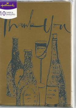 Pack of 10 Golden Alcohol Design Thank You Cards with Envelopes