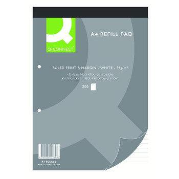 Feint Ruled Margin Headbound Refill Pad 200 Pages A4 (Pack of 5)
