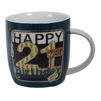 Laura Darrington Unzipped Collection Porcelain Mug - 21st Birthday