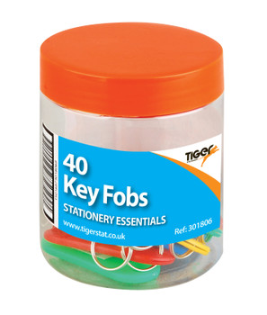 Tub of 40 Assorted Coloured Key Fobs