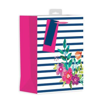 Floral Strip Design Female Medium Gift Bag