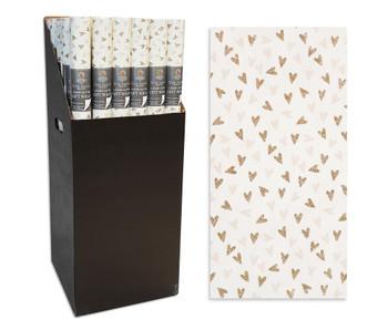 2m x 69cm Luxury Flitter Heart Design Gift Wrap Roll