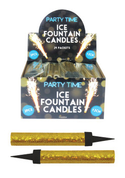 Pack of 2 12cm Gold Ice Fountain Candle