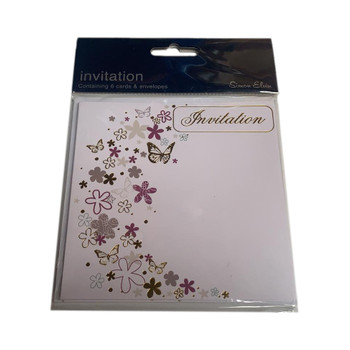 Pack of 6 Butterfly and Floral Design Invitation Cards with Envelopes