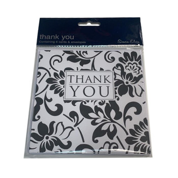 Pack of 6 Black and White Floral Thank You Cards with Envelopes