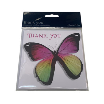 Pack of 6 Butterfly Design Thank You Cards with Envelopes