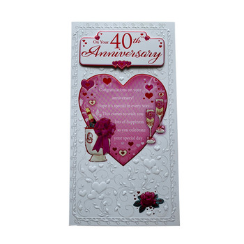 On Your 40th Anniversary Open Soft Whispers Card