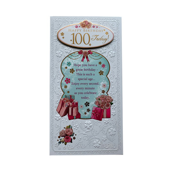 Happy Birthday 100 Today! Open Female Soft Whispers Card