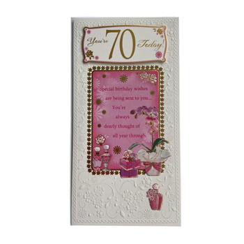 70th Birthday Foil Finished Soft Whispers Card