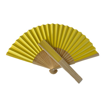 Yellow Paper Foldable Hand Held Bamboo Wooden Fan