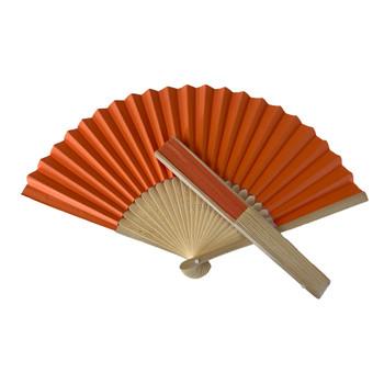 Orange Paper Foldable Hand Held Bamboo Wooden Fan