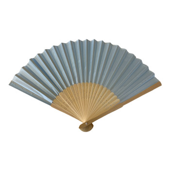 Light Blue Fabric Foldable Hand Held Bamboo Wooden Fan