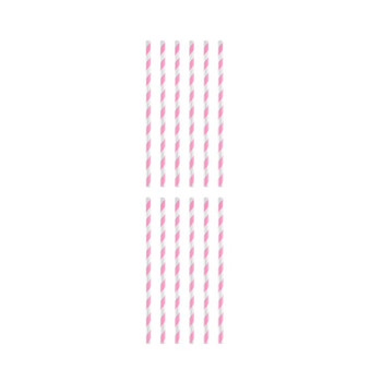 Pack of 12 Pink And White Striped Paper Straws