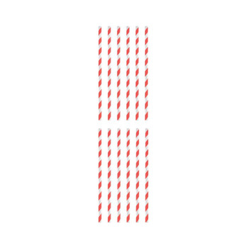 Pack of 12 Red And White Striped Paper Straws