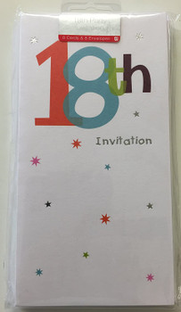 18th Birthday Party Invitations Pack of 8 White