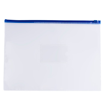 Pack of 12 A4+ Foolscap Clear Zippy Bags with Blue Zip