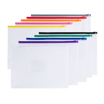 Pack of 12 A4+ Foolscap Clear Zippy Bags with Pink Zip
