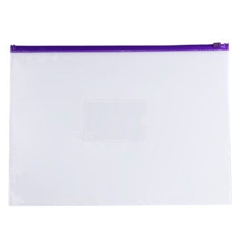Pack of 12 A4+ Foolscap Clear Zippy Bags with Purple Zip