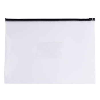 Pack of 12 A4+ Foolscap Clear Zippy Bags with Black Zip