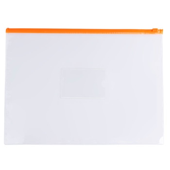 Pack of 12 A4+ Foolscap Clear Zippy Bags with Orange Zip