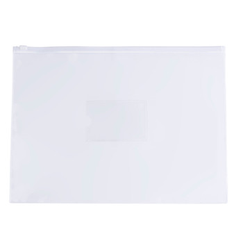 Pack of 12 A3 Clear Zippy Bags with White Zip