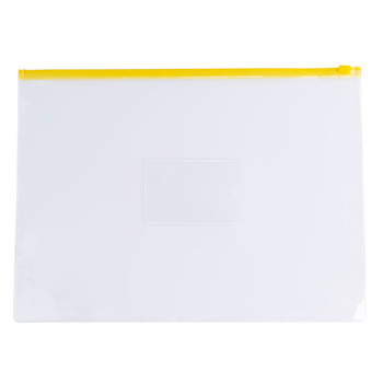 Pack of 12 A3 Clear Zippy Bags with Yellow Zip