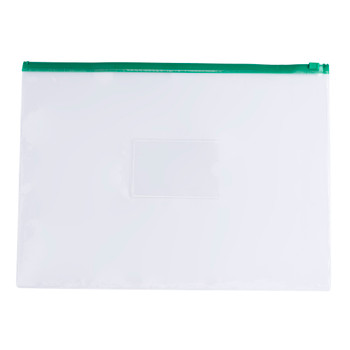 Pack of 12 A3 Clear Zippy Bags with Green Zip