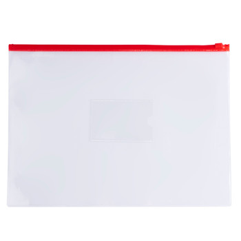 Pack of 12 A3 Clear Zippy Bags with Red Zip
