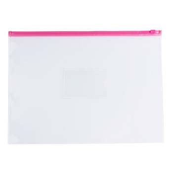 Pack of 12 A3 Clear Zippy Bags with Pink Zip