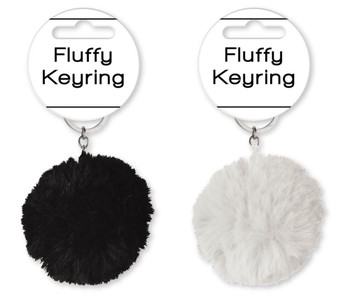 Spots And Stripes Fluffy Key Ring