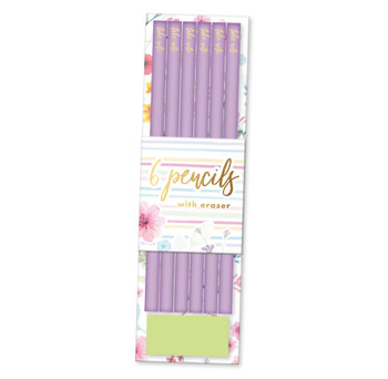 Box of 6 Pastel Bloom Pencils with Eraser