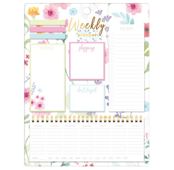 Pastel Floral Design Weekly Planner With Sticky Notes