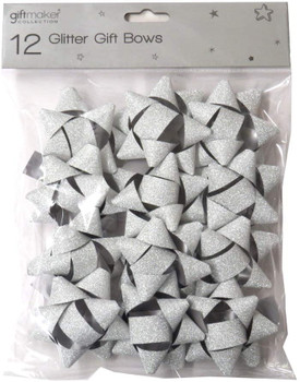 Pack of 12 Silver or Gold Glitter Gift Bows