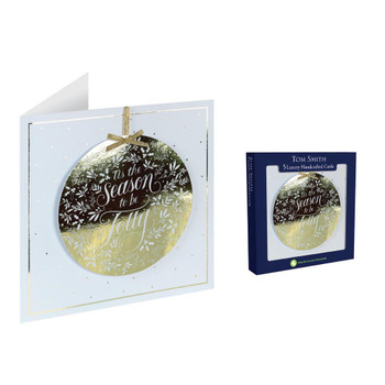 Pack of 5 Gold Bauble Design Luxury Handmade Christmas Cards