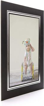 Pack of 50 Kenro Black Cardboard Strut Mount Photo Frame A4 21x30cm Presentation with Silver Border