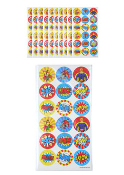 Pack of 10 Superhero Stickers Sheets (180 Stickers)
