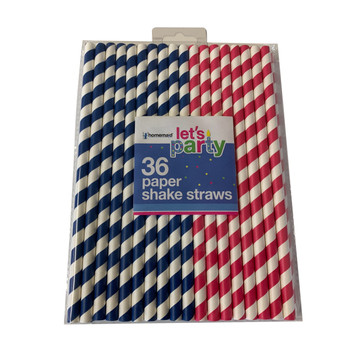 Pack of 36 Striped Shake Paper Straws