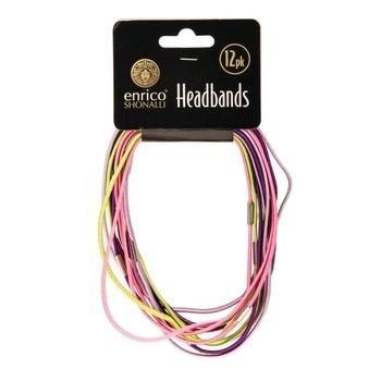 Pack of 12 Multicoloured Enrico Shonalli Shiny Headbands