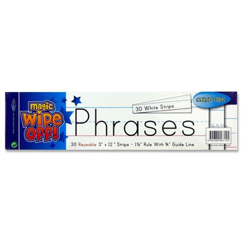"""Pack of 30 Wipe-off Reusable 3""""x12"""" White Phrase Strips by Clever Kidz"""