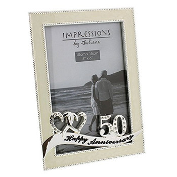 Silver Plated Ivory Double Heart Golden Anniversary Photo Frame Diamantes 50
