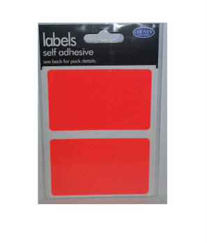 Pack of 8 50mm x 80mm Fluorescent Red Self Adhesive Rectangular Labels