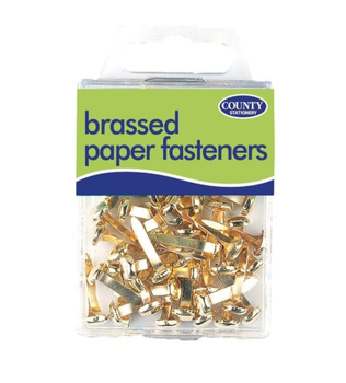 Pack of 40 Brassed Paper Fasteners - Office Stationery Arts Crafts Paper